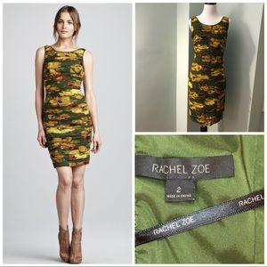 Rachel Zoe Maddy silk ruched floral zipper printed